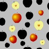 Teste padrão sem emenda com maçãs pretas e algum ouro Imagens de Stock