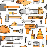 Teste padrão sem emenda com machado, capacete, chave de fenda, martelo, régua e outro Imagens de Stock