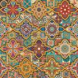 Teste padrão sem emenda com mandalas decorativas Elementos da mandala do vintage Retalhos coloridos Fotos de Stock