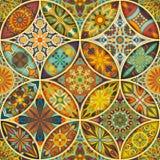Teste padrão sem emenda com mandalas decorativas Elementos da mandala do vintage Retalhos coloridos Fotografia de Stock Royalty Free