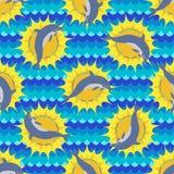 Teste padrão sem emenda com mar e golfinho Imagens de Stock