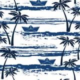 Teste padrão sem emenda com mar, palmeiras e os barcos de papel verão b ilustração stock