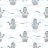 Teste padrão sem emenda com marinheiro do hipopótamo ilustração royalty free