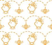 Teste padrão sem emenda com mealheiro Teste padrão do dinheiro Vetor Imagens de Stock Royalty Free