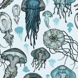 Teste padrão sem emenda com medusa do mar ilustração do vetor