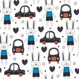 Teste padrão sem emenda com menino e carro do coelho no estilo escandinavo Imagens de Stock Royalty Free