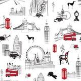 Teste padrão sem emenda com miniaturas inglesas Fotografia de Stock Royalty Free