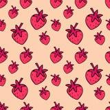 Teste padrão sem emenda com morangos cor-de-rosa Teste padrão bonito da morango ilustração stock