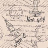 Teste padrão sem emenda com Moscou e New York Ilustração Royalty Free