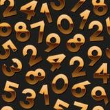 Teste padrão sem emenda com números dourados Fotos de Stock Royalty Free