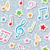 Teste padrão sem emenda com notas e estrelas da música Imagens de Stock Royalty Free