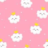 Teste padrão sem emenda com nuvens bonitos princesa e estrelas no fundo cor-de-rosa Ornament para matérias têxteis e envolvimento ilustração do vetor