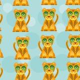 Teste padrão sem emenda com o animal bonito engraçado do jaguar sobre Fotografia de Stock Royalty Free
