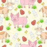 Teste padrão sem emenda com o animal de exploração agrícola e carne tirados mão, leite, galinha, vaca, porco, grama Teste padrão  Fotos de Stock Royalty Free