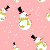 Teste padrão sem emenda com o boneco de neve bonito do Xmas dos desenhos animados Imagem de Stock Royalty Free