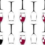 Teste padrão sem emenda com o copo de vinho preto com vinho e o copo de vinho vazio Vetor ilustração stock