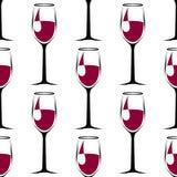 Teste padrão sem emenda com o copo de vinho preto com vinho Vetor ilustração royalty free