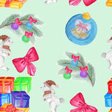 Teste padrão sem emenda com o desenho do ` s das crianças Feriado, desenhos do Natal ilustração do vetor