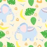 Teste padrão sem emenda com o elefante no estilo escandinavo - ilustração do vetor, eps ilustração stock