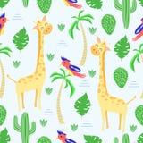 Teste padrão sem emenda com o girafa no estilo escandinavo - ilustração do vetor, eps ilustração stock
