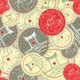 Teste padrão sem emenda com o guarda-chuva japonês colorido Ilustração do Vetor
