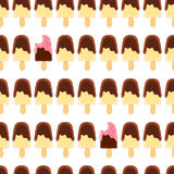 Teste padrão sem emenda com o picolé inteiro e mordido da banana Crosta de gelo do chocolate e da framboesa ilustração stock