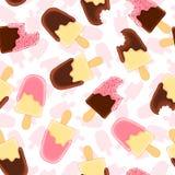 Teste padrão sem emenda com o picolé inteiro e mordido da baunilha Crosta de gelo do chocolate e da framboesa ilustração royalty free