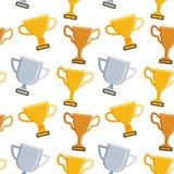 Teste padrão sem emenda com o troféu no fundo branco ilustração stock