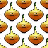 Teste padrão sem emenda com o vegetal dourado da cebola Foto de Stock Royalty Free