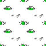 Teste padrão sem emenda com olhos e chicotes Foto de Stock Royalty Free