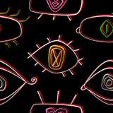 Teste padrão sem emenda com olhos Fundo preto Imagem de Stock