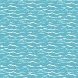 Teste padrão sem emenda com ondas do mar ilustração stock