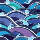 Teste padrão sem emenda com ondas e lírios de água Imagens de Stock