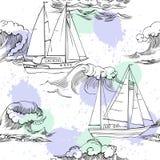 Teste padrão sem emenda com ondas e navios Fotos de Stock Royalty Free