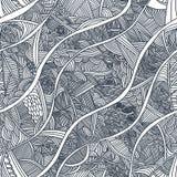 Teste padrão sem emenda com ondas hand-drawn Imagem de Stock Royalty Free