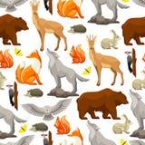 Teste padrão sem emenda com os animais e os pássaros da floresta da floresta Ilustração estilizado Imagem de Stock