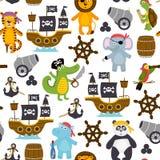 Teste padrão sem emenda com os animais engraçados dos piratas ilustração stock