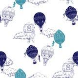 Teste padrão sem emenda com os balões de ar quente Imagens de Stock