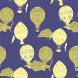 Teste padrão sem emenda com os balões de ar quente Imagens de Stock Royalty Free