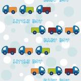 Teste padrão sem emenda com os caminhões para rapazes pequenos Fotografia de Stock Royalty Free