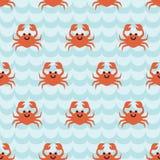 Teste padrão sem emenda com os caranguejos bonitos dos desenhos animados Imagem de Stock Royalty Free