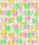 Teste padrão sem emenda com os carneiros felizes bonitos Fundo do estilo dos desenhos animados Imagem de Stock Royalty Free