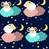 Teste padrão sem emenda com os carneiros na noite Imagem de Stock Royalty Free