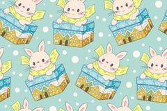 Teste padrão sem emenda com os coelhos engraçados dos desenhos animados Fotografia de Stock