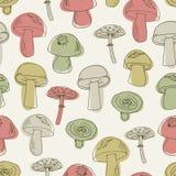 Teste padrão sem emenda com os cogumelos ajustados ilustração do vetor