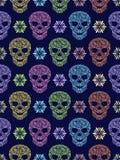 Teste padrão sem emenda com os crânios florais abstratos ilustração royalty free