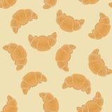 Teste padrão sem emenda com os croissant corado para envolver, kraft, cartões, matéria têxtil, cópia Croissant com sementes de sé Imagem de Stock Royalty Free