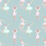 Teste padrão sem emenda com os dançarinos de bailado da aquarela Imagens de Stock Royalty Free