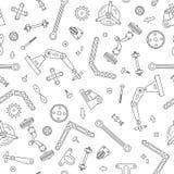 Teste padrão sem emenda com os detalhes e as engrenagens para a robótica da construção Ilustração do vetor ilustração stock