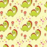 Teste padrão sem emenda com os dinossauros no vetor dos desenhos animados Imagem de Stock
